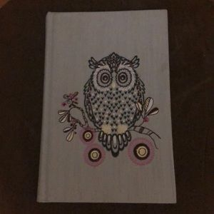 Journal with owl embroidered fabric cover